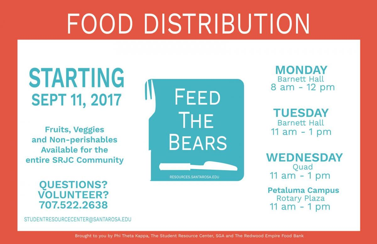 Food Distribution Starting September 11, 2017 Fruits, Veggies, and Non-Perishables Available for the entire SRJC Community Monday Barnett Hall 8 am to 12 pm Tuesday Barnett Hall 11 am to 1 pm Wednesday Quad 11 am to 1 pm Petaluma Campuses Rotary Plaza 11 am to 1 pm Questions? Volunteer? 7075222638