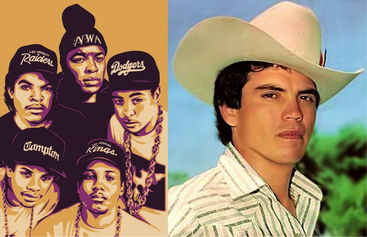picture of NWA and Mexican singer in cowboy hat