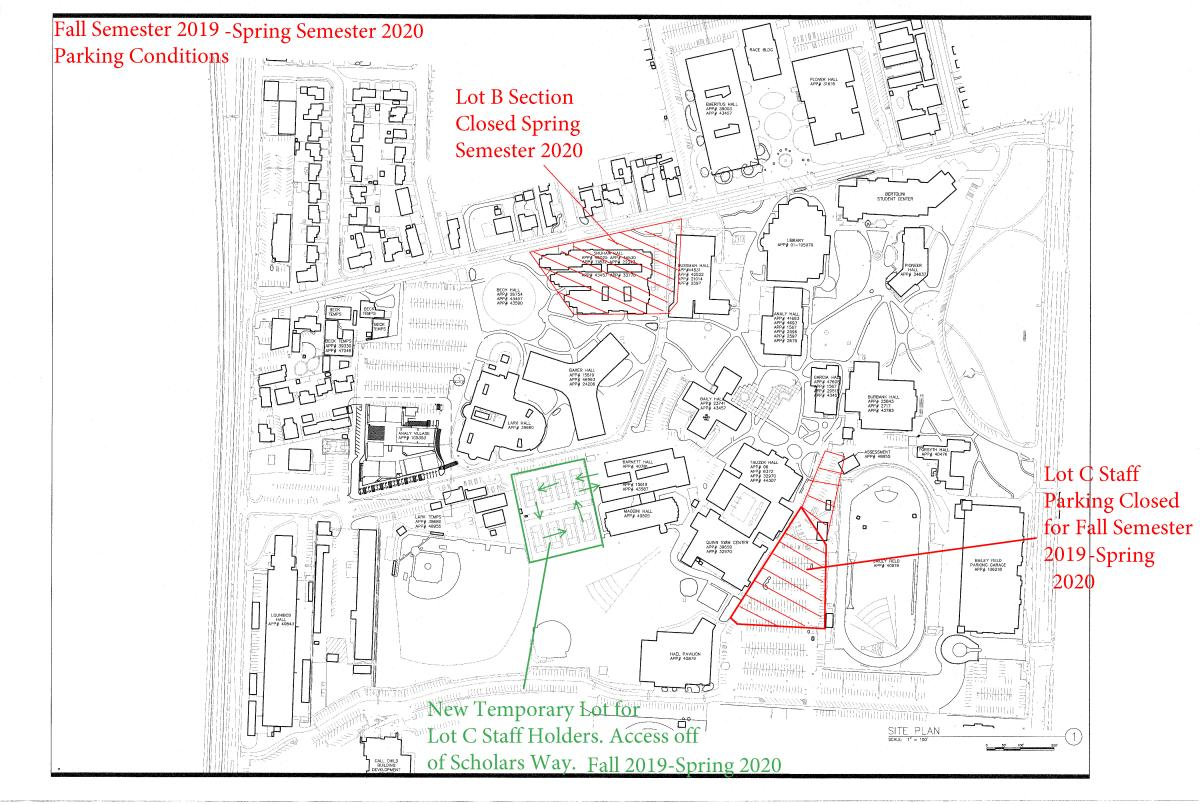 Map showing the closure of Parking lot C