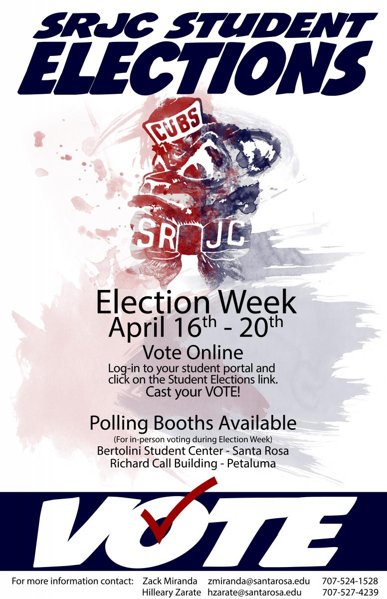 Online Voting Available in Santa Rosa & Petaluma! You can also vote online in your student portal. April 16 - 20